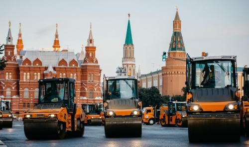 Замена асфальта на Тверской улице. Август, 2020 год